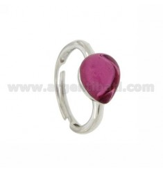 HYDROTHERMAL STONE RING WITH A DROP IN 16 MM 1 RED PINK RHODIUM AG TIT 925 SIZE ADJUSTABLE