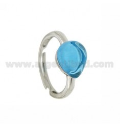 HYDROTHERMAL STONE RING WITH A DROP IN 65 MM 1 TURQUOISE AG TIT 925 RHODIUM SIZE ADJUSTABLE