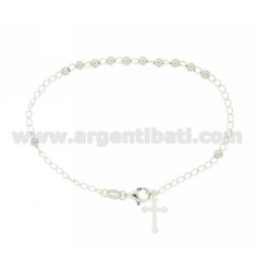 ROSARY BEAD BRACELET WITH SMOOTH MM 4 23 CM WITH SILVER CROSS MM17X11 TIT 925 ‰