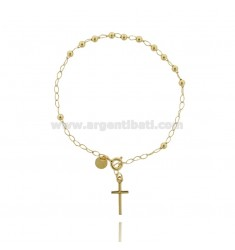 ROSARY BRACELET WITH BALL SMOOTH MM 3 CM 18 WITH CROSS 11X6 MM SILVER GOLD PLATED TIT 925 ‰