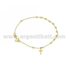 ROSARY BEAD BRACELET WITH SMOOTH MM 18 CM 3 MM 11X6 WITH CROSS PENDANT IN SILVER GOLD PLATED TIT 925 ‰