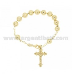 ROSARY BRACELET WITH BALL MM 8 MM 21 CM WITH CROSS INVESTMENT CAST 32x20 SILVER GOLD PLATED YELLOW TIT 925 ‰