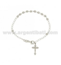 ROSARY BRACELET WITH SMOOTH BALL 18 CM WITH CROSS 4 MM MM 20x12 INVESTMENT CAST IN SILVER RHODIUM 925 ‰