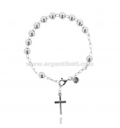 ROSARY BEAD BRACELET WITH SMOOTH MM 6 MM 21 CM WITH SMOOTH CROSS IN SILVER RHODIUM 21x12 TIT 925 ‰