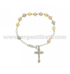 ROSARY BEAD BRACELET WITH 6 MM 19 CM WITH CROSS INVESTMENT CAST 26x12 MM SILVER RHODIUM, GOLD PLATED YELLOW AND PINK TIT 925 ‰