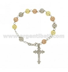 ROSARY BRACELET WITH BALL MM 8 MM 21 CM WITH CROSS INVESTMENT CAST 32x20 SILVER RHODIUM, GOLD PLATED YELLOW AND PINK TIT 925 ‰