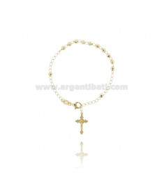 ROSARY BRACELET WITH BALL faceted MM 4 CM 19 CROSS INVESTMENT CAST 20x12 MM SILVER GOLD PLATED TIT 925 ‰