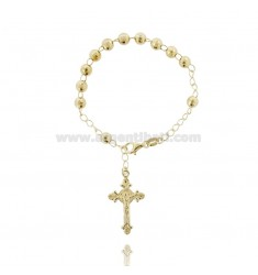 ROSARY BRACELET WITH BALL faceted MM 6 MM 20 CM WITH CROSS INVESTMENT CAST 32x20 TIT SILVER GOLD PLATED 925 ‰