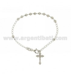 ROSARY BRACELET WITH BALL faceted MM 4 CM 19 CROSS INVESTMENT CAST 20x12 MM SILVER RHODIUM TIT 925 ‰