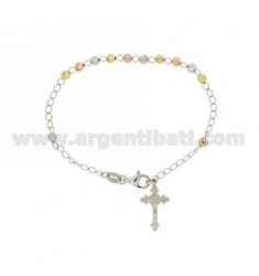 ROSARY BRACELET WITH BALL faceted MM 4 CM 19 CROSS INVESTMENT CAST 20x12 MM SILVER RHODIUM, GOLD PLATED YELLOW AND PINK TIT 925