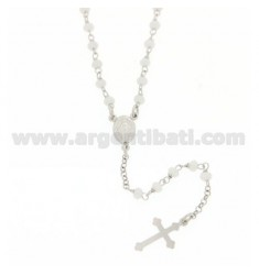 ROSARY NECKLACE WITH WHITE STONES faceted MM 3,5 X 2,8 CM 50 IN SILVER RHODIUM 925 ‰