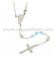 ROSARY NECKLACE WITH STONE CELESTIAL faceted 4.5 X 4.5 MM 54 CM SILVER RHODIUM 925 ‰