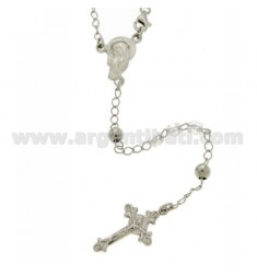 ROSARY NECKLACE WITH CLEAR STONES faceted 4.5 X 4.5 MM 54 CM SILVER RHODIUM 925 ‰