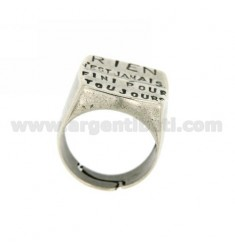 MICRO-CAST SQUARE RING 20X20 MM WITH WRITING &quotNOTHING IS EVER LOST&quot IN AG TIT 925 ‰ ADJUSTABLE SIZE FROM 18