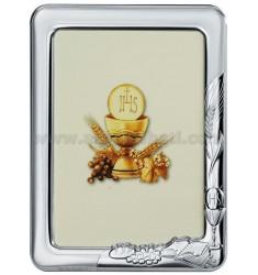 CORNICE STONDATA COMUNIONE CM 13X18 R/LEGNO BIANCO BIL. AG