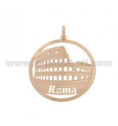 CHARM ROUND LASER CUTTING 40 MM IN ROME ROSE GOLD PLATED AG TIT 925 ‰