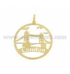 CIONDOLO TONDO TAGLIO LASER MM 40 LONDON IN AG PLACCATO ORO TIT 925‰