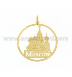 CIONDOLO TONDO TAGLIO LASER MM 40 MOSCOW IN AG PLACCATO ORO TIT 925‰