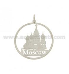 CIONDOLO TONDO TAGLIO LASER MM 40 MOSCOW IN AG RODIATO TIT 925‰