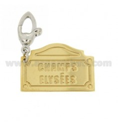 PENDANT PLATE ROAD FAMOUS &quotCHAMPS ELYSEES&quot MM 26X18 AG IN HOOK RHODIUM PLATED GOLD AND TIT 925
