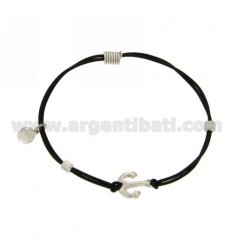 ELASTIC BRACELET WITH BLACK AGAIN AND PARTITIONS IN RHODIUM AG TIT 925