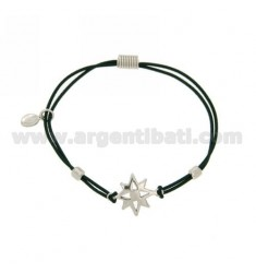 ELASTIC BRACELET WITH DARK GREEN ROSE OF THE WINDS AND PARTITIONS IN RHODIUM AG TIT 925
