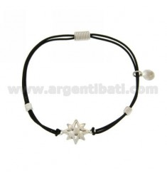 ELASTIC BRACELET WITH BLACK ROSE OF THE WINDS AND PARTITIONS IN RHODIUM AG TIT 925