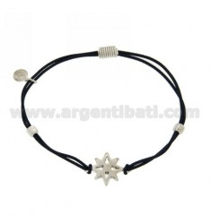 ELASTIC BRACELET WITH BLUE ROSE OF THE WINDS AND PARTITIONS IN RHODIUM AG TIT 925