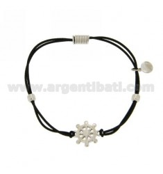 ELASTIC BRACELET WITH BLACK AND HELM AG PARTITION IN RHODIUM TIT 925