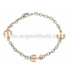 BRACELET WITH CABLE ANCHOR IN AG microcast RHODIUM PLATED GOLD AND ROSE TIT 925 ‰ CM 20