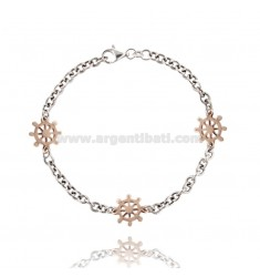 BRACELET WITH CABLE IN HELMS AG microcast RHODIUM PLATED GOLD AND ROSE TIT 925 ‰ CM 20