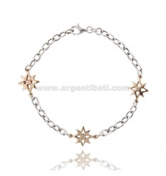 CABLE BRACELET WITH ROSE OF THE WINDS IN AG microcast RHODIUM PLATED GOLD AND ROSE TIT 925 ‰ CM 20