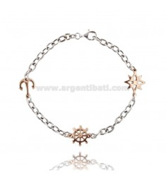 CABLE BRACELET WITH ROSE OF THE WINDS, AND AGAIN IN HELM AG microcast RHODIUM PLATED GOLD AND ROSE TIT 925 ‰ CM 20