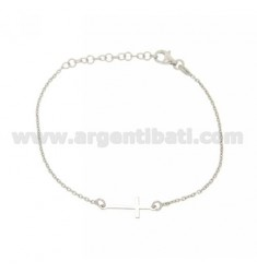 MICRO CABLE CROSS BRACELET WITH A PLATE IN CENTRAL AG RHODIUM TIT 925 CM 18
