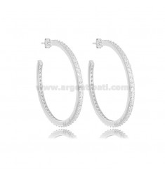 CIRCLE EARRINGS MM 35 WITH ZIRCONIA IN AG RHODIUM TIT 925