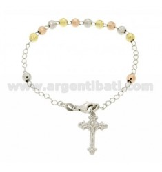 ROSARY BRACELET WITH BALL faceted MM 5 MM 19 CM WITH CROSS INVESTMENT CAST 25X15 SILVER RHODIUM PLATED 925 ‰, GOLD AND ROSE GOLD