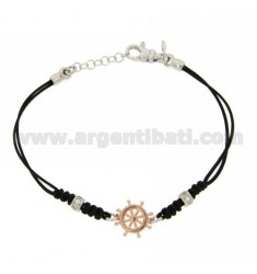HELM AG RHODIUM BRACELET IN COPPER AND TIT 925 WAXED SILK AND ZIRCONIA