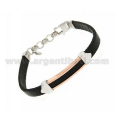 EMPTY PLATE GOLD PLATED BRACELET WITH PINK AND LEATHER IN RHODIUM AG TIT 925 ‰