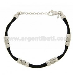 BRACELET WITH GLAZED PARTITIONS WITH CORD AND TRANSPARENCY IN RHODIUM AG TIT 925