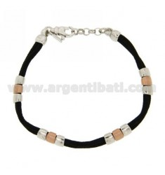 BRACELET WITH GLAZED PARTITIONS AND SHINY ROSE GOLD PLATED WITH CORD IN RHODIUM AG TIT 925
