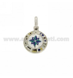 CHARM ROSE OF THE WINDS IN RHODIUM TIT AG 925 AND ENAMEL