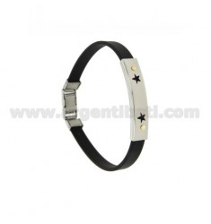 RUBBER BRACELET &39PERFORATED PLATE WITH STARS IN STEEL WITH Vitine Bilamina BRASS AND GOLD