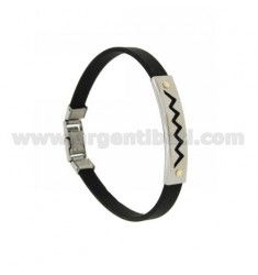 RUBBER BRACELET &39ZIG ZAG WITH PERFORATED STEEL PLATE WITH Vitine Bilamina IN BRASS AND GOLD