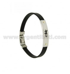RUBBER BRACELET &39WITH PERFORATED PLATE JECO Vitine IN STEEL WITH BRASS AND GOLD Bilamina