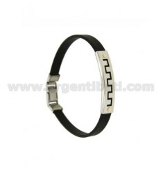 RUBBER BRACELET &39PERFORATED PLATE WITH GREEK STEEL WITH Vitine Bilamina IN BRASS AND GOLD