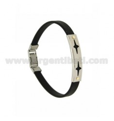 RUBBER BRACELET WITH PERFORATED PLATE BIG SPARKLES IN STEEL WITH BILAMINE BRASS AND GOLD VITINS