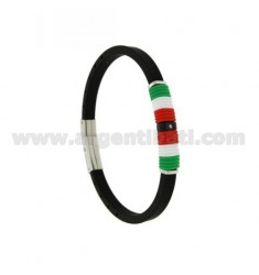 BRACELET IN STEEL AND BLACK RUBBER 5 MM WITH CENTRAL IN RUBBER WITH THE COLORS OF ITALY AND RUTHENIUM PLATED ELEMENT AND STRASS