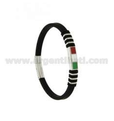 BRACELET IN STEEL AND BLACK RUBBER 5 MM WITH ENAMELED ITALIAN FLAG CENTRAL