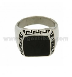 STEEL RING WITH STONE 16x14 MM WITH BUILT.IN GREEK SIZE 29