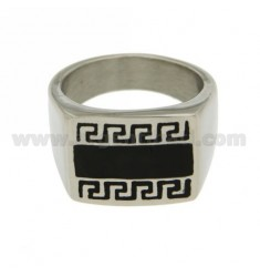 STEEL RING WITH GREEK GLAZED RECTANGULAR 18x14 MM SIZE 22